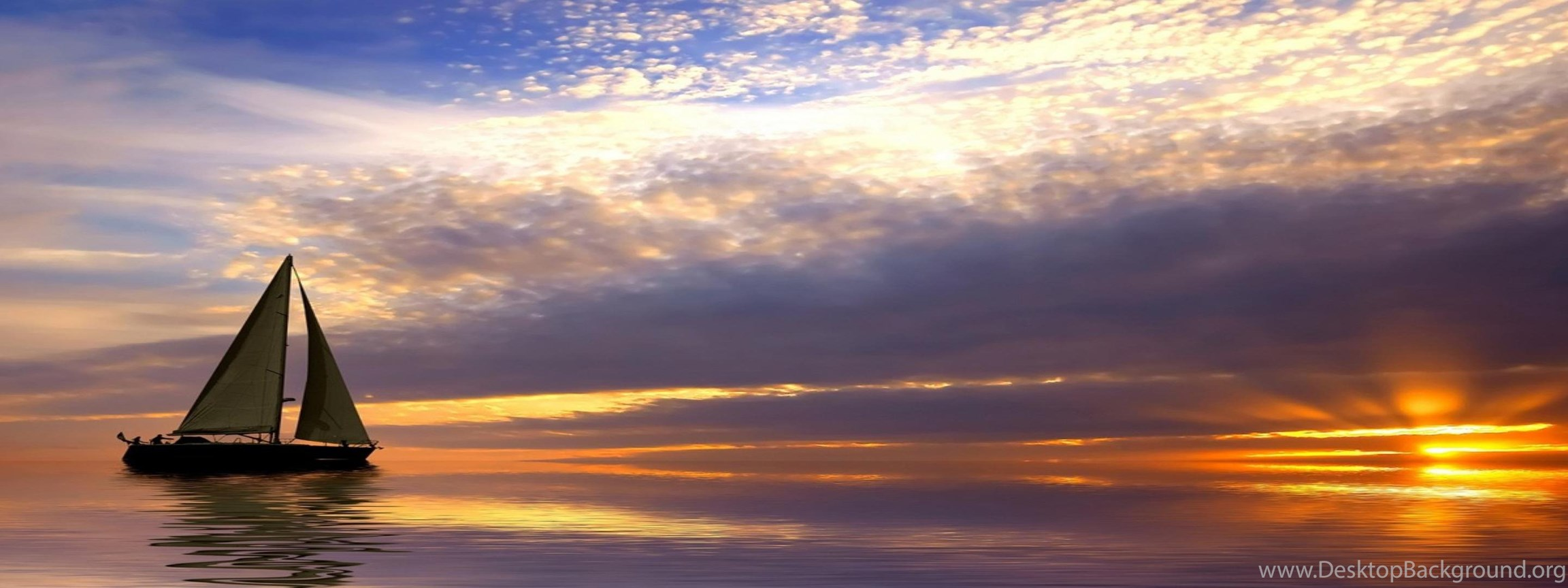 Download Sailing Sunrise HD Wallpapers In 3840x1080