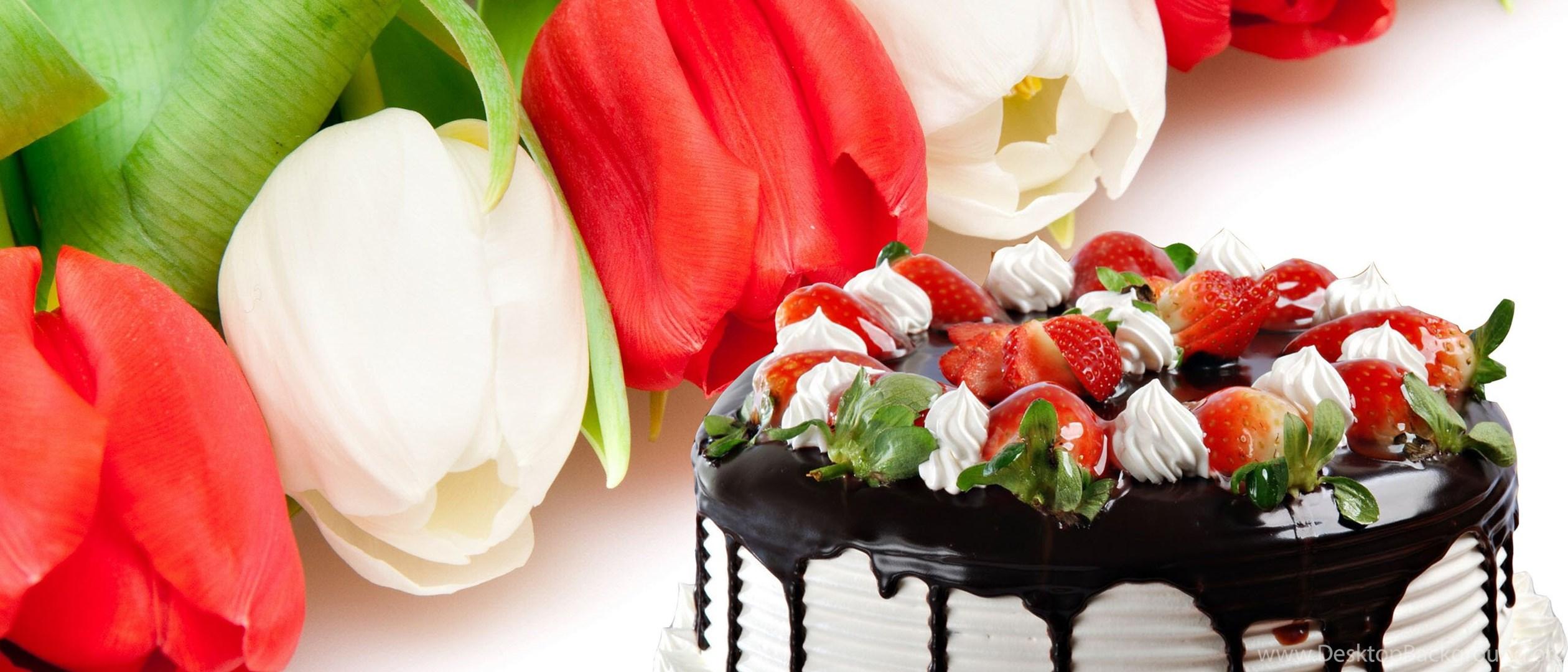 Как, торт и цветы открытка