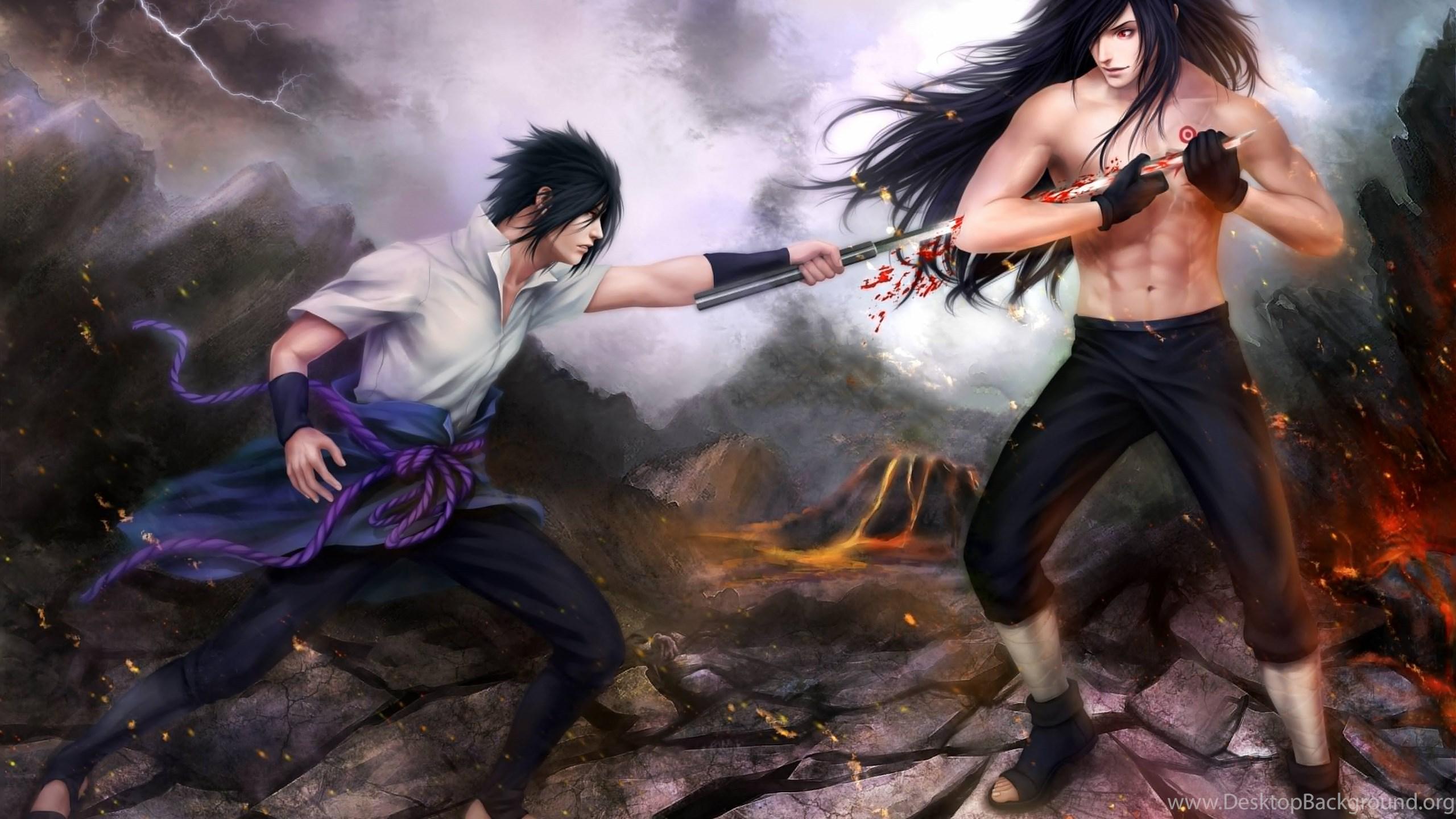 Art Naruto Sasuke Uchiha Madara Uchiha Battle Wallpapers