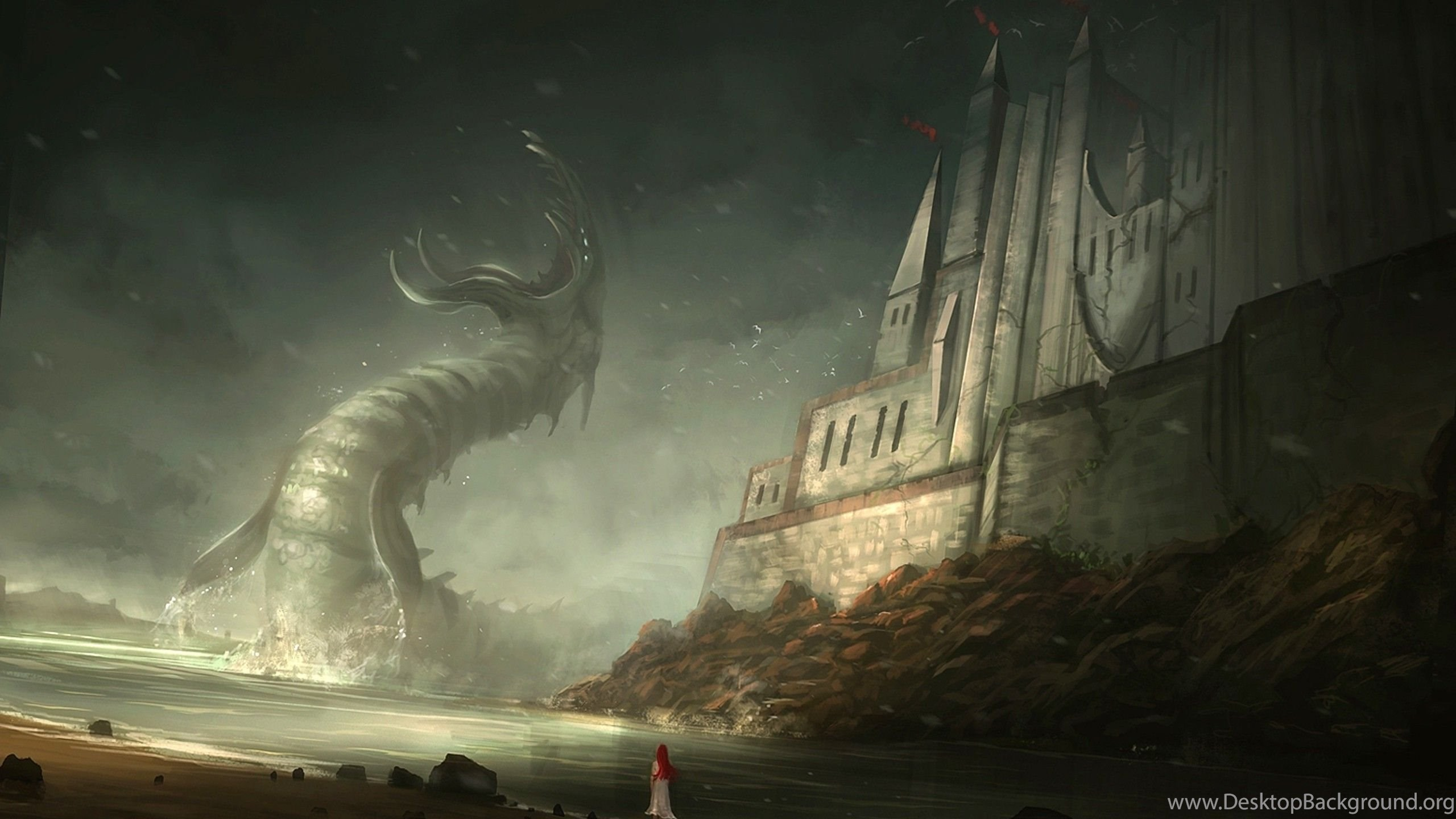 Girl Faced With The Cthulhu Wallpapers Fantasy Desktop