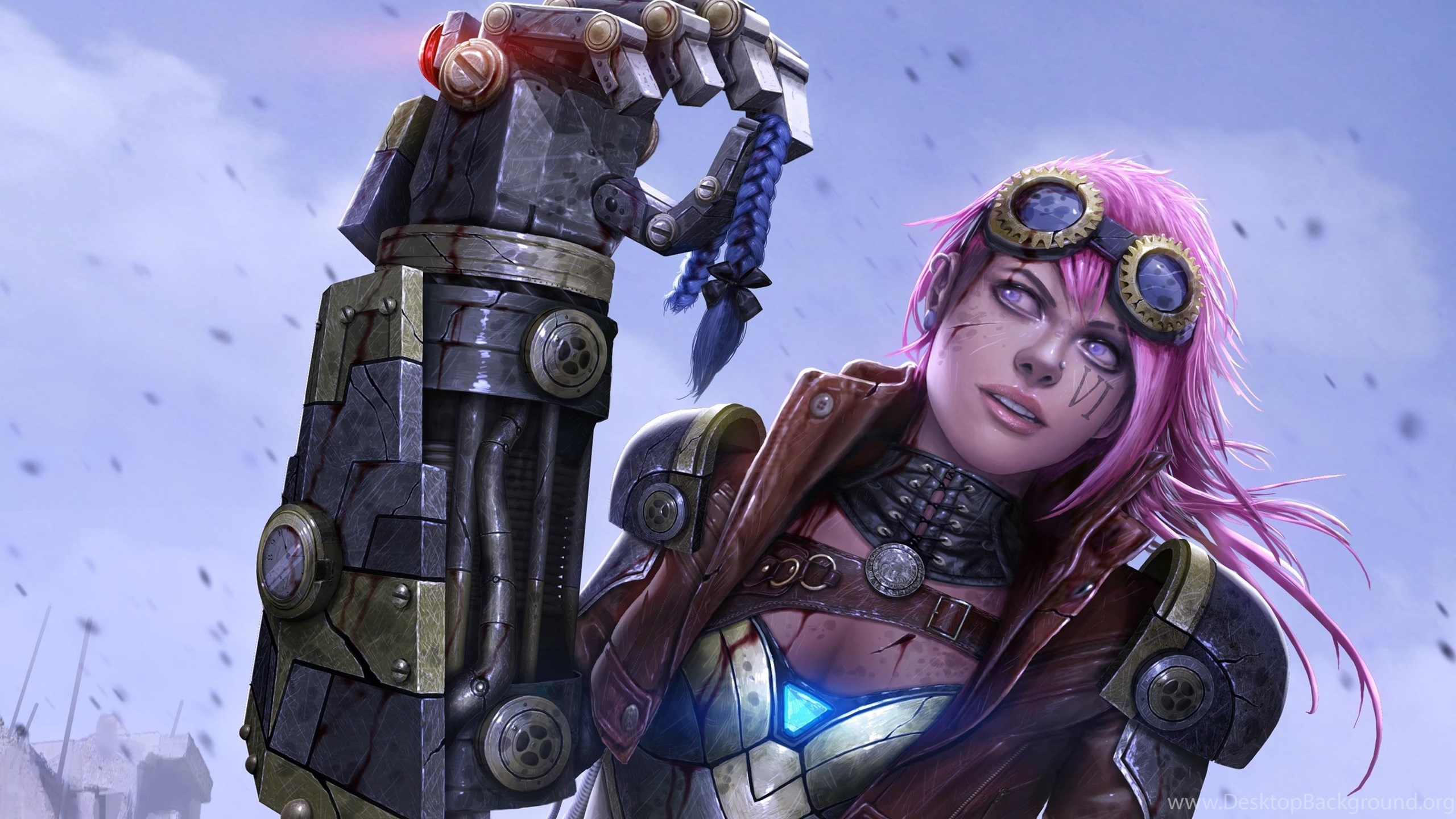 Vi In The Rain League Of Legends Hd Desktop Wallpapers Desktop