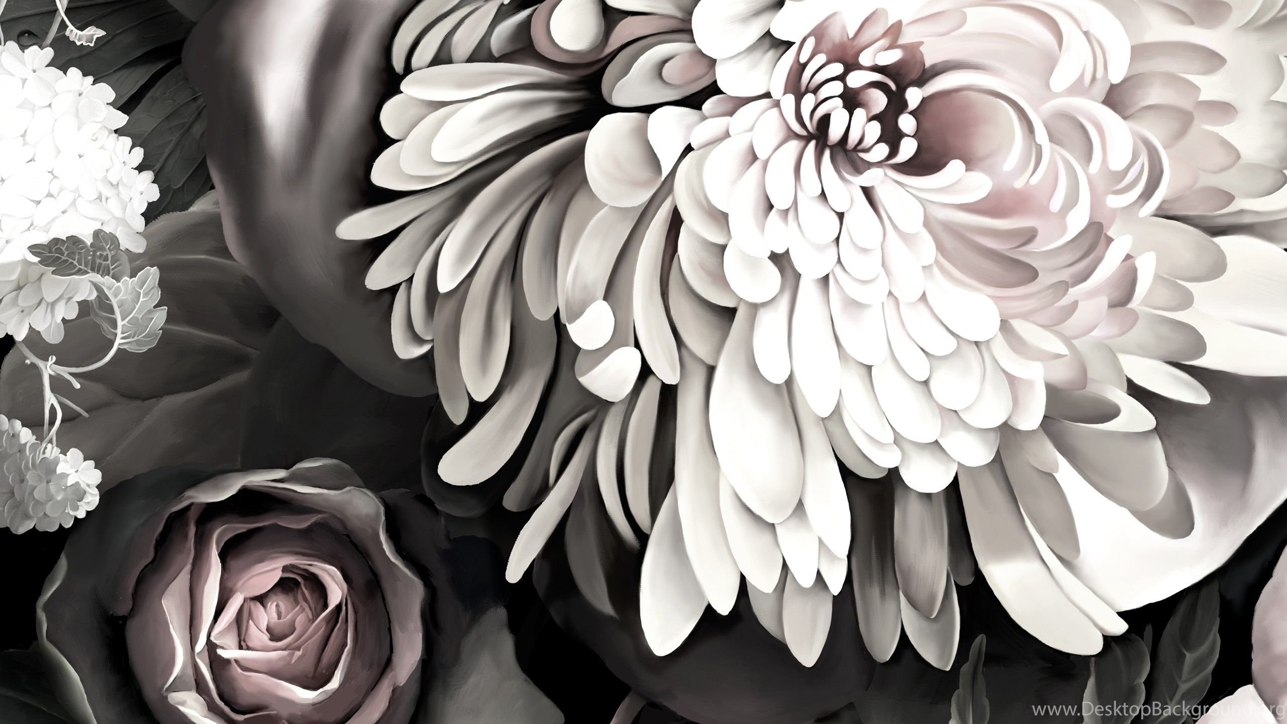 Dark Floral Ii Black Desaturated By Ellie Cashman Design Desktop