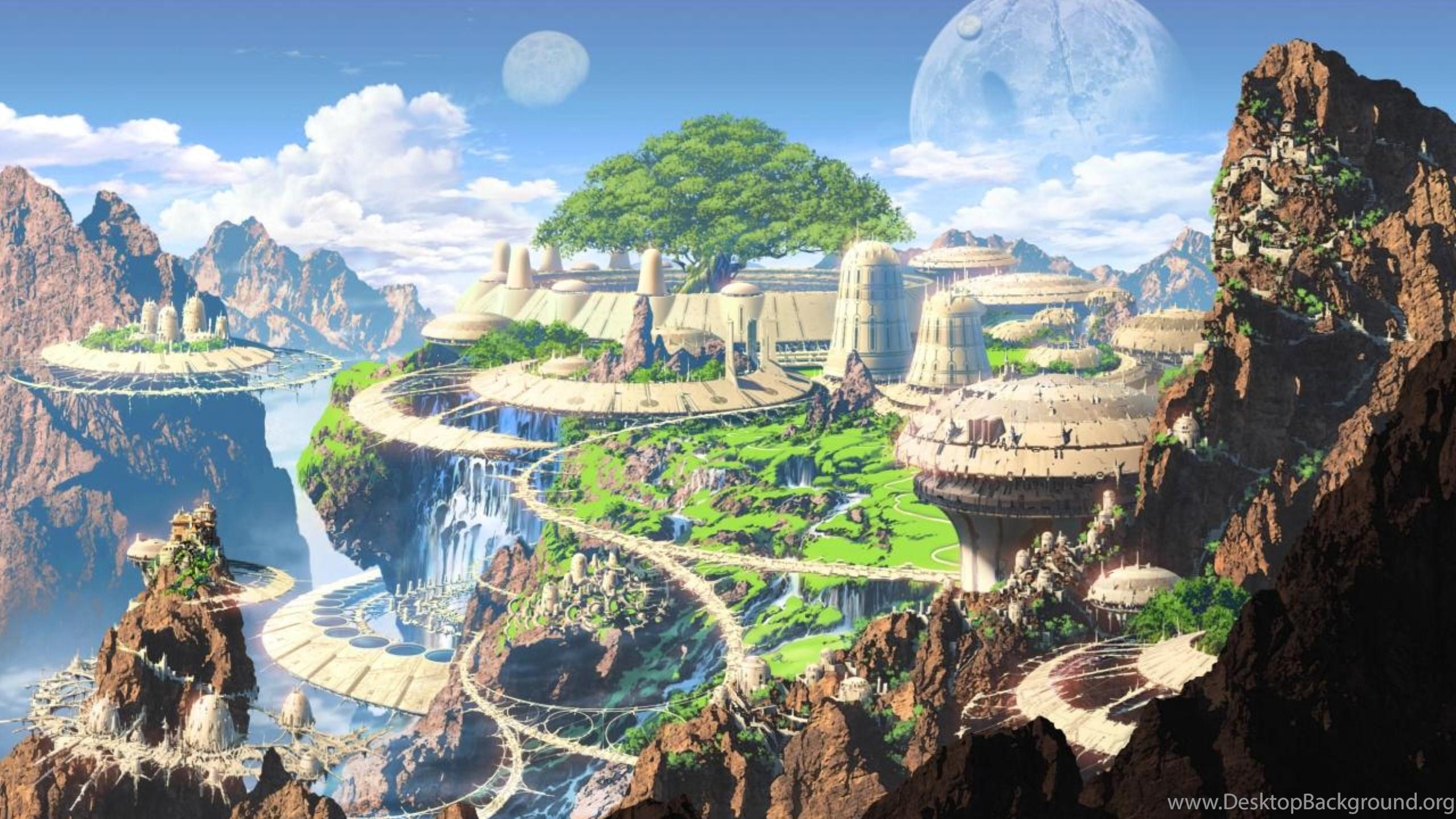 realm of fantasy world digital art desktop background