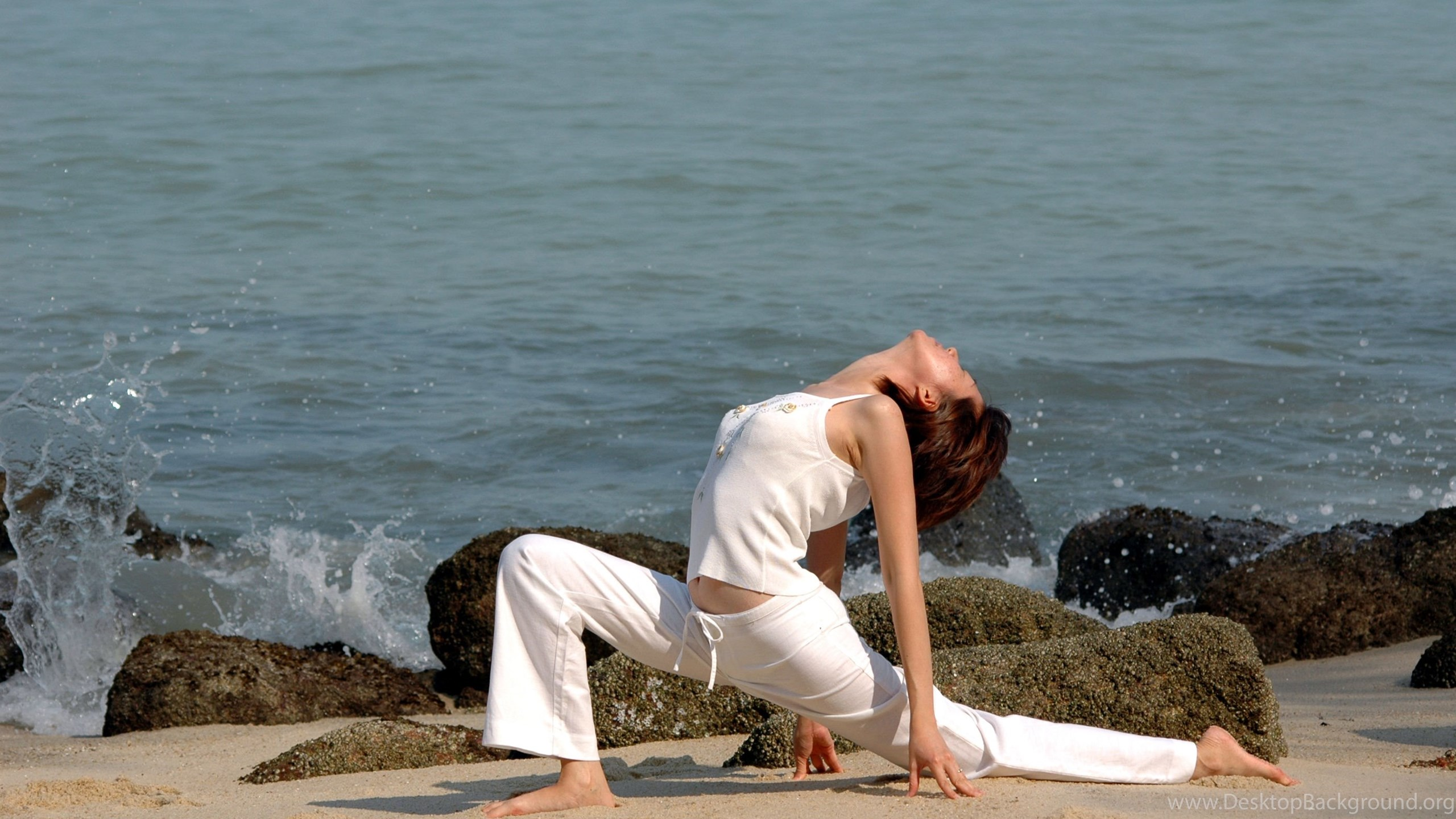 Beach Yoga Girl Widescreen Hd Wallpapers Download Yoga Images Free Desktop Background