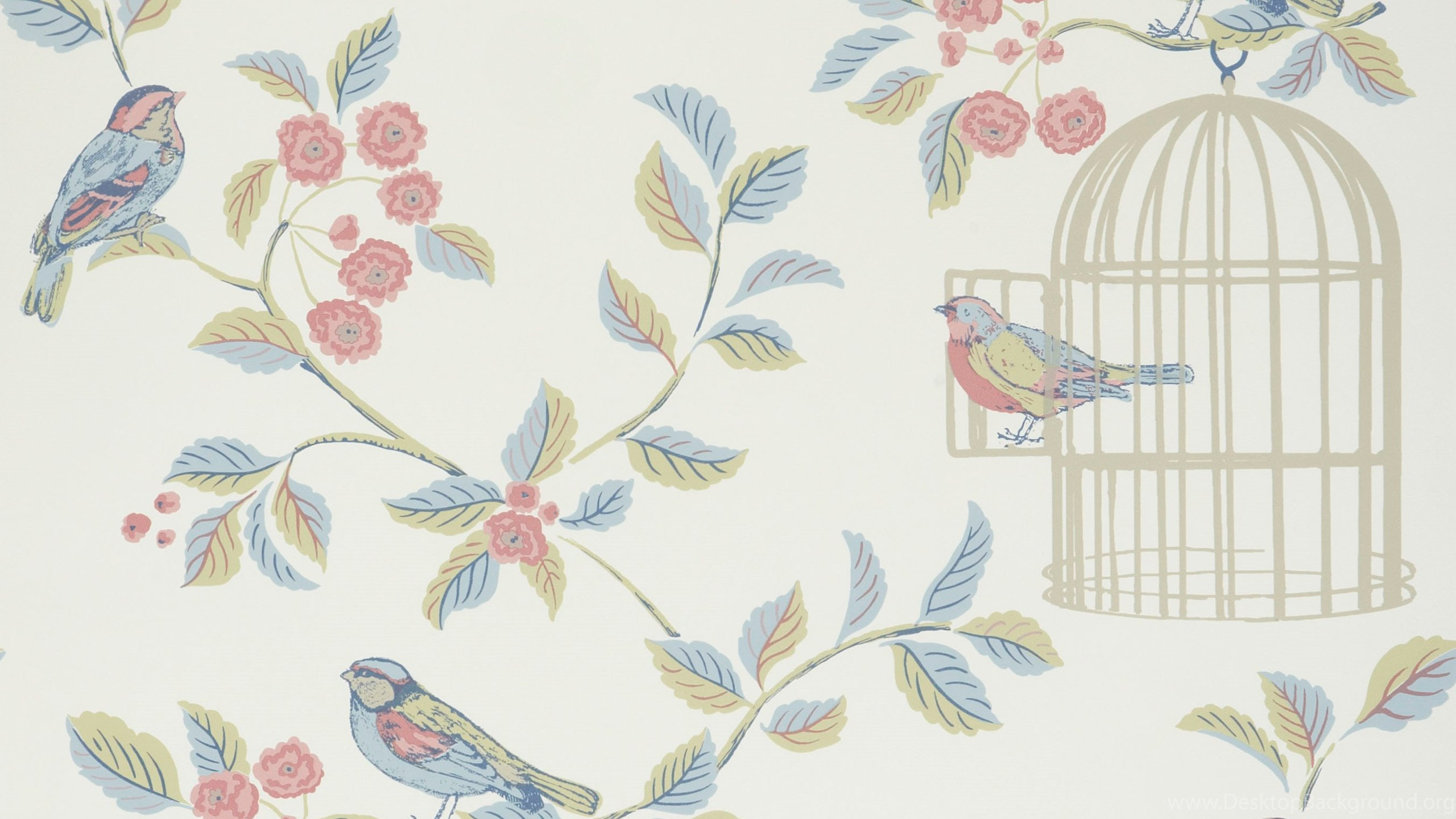 Shabby Chic Wallpapers Bird Cage And Flowers Bedroom
