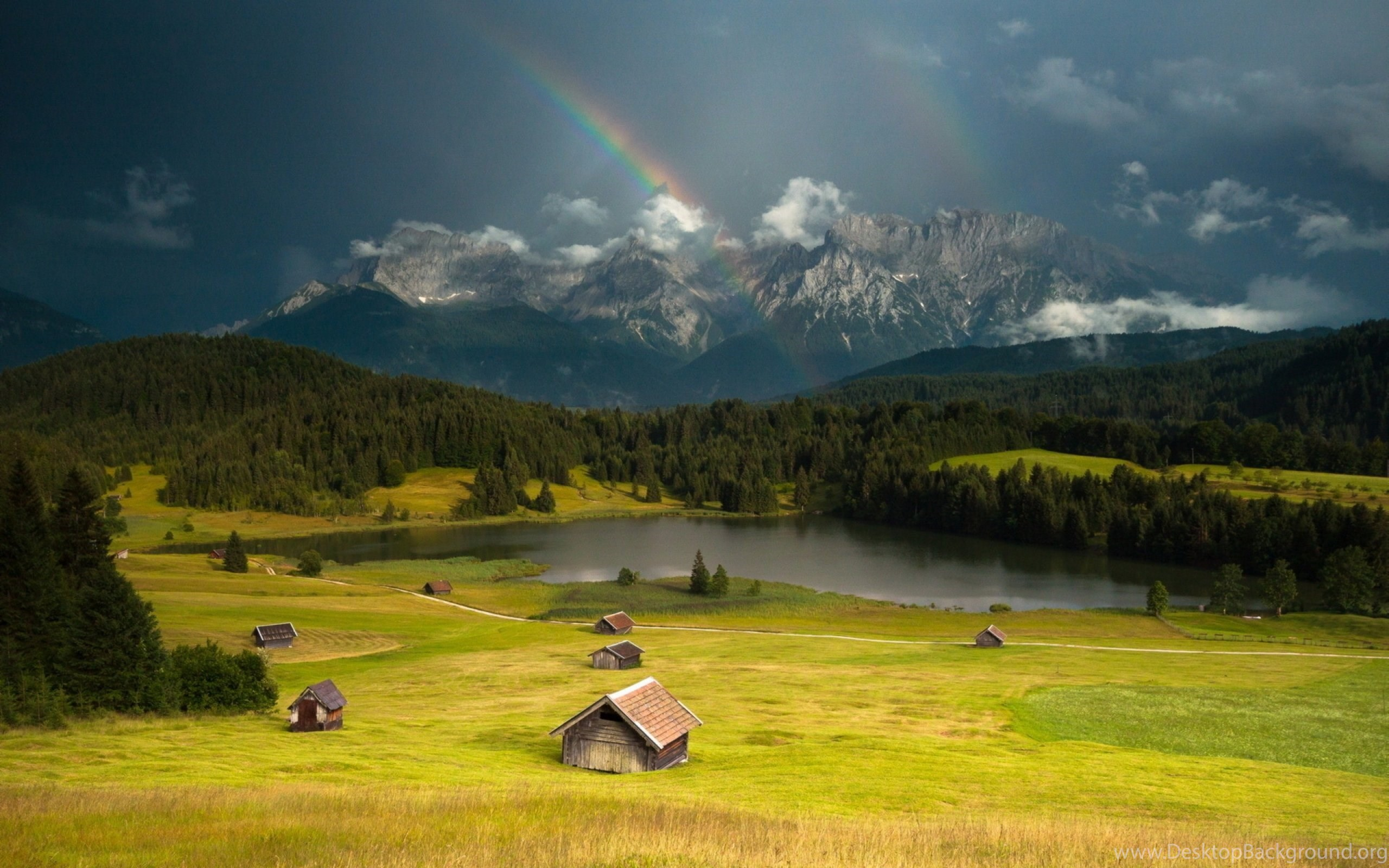 Mountains Landscape Nature Mountain Rainbow Rain Rustic Farm