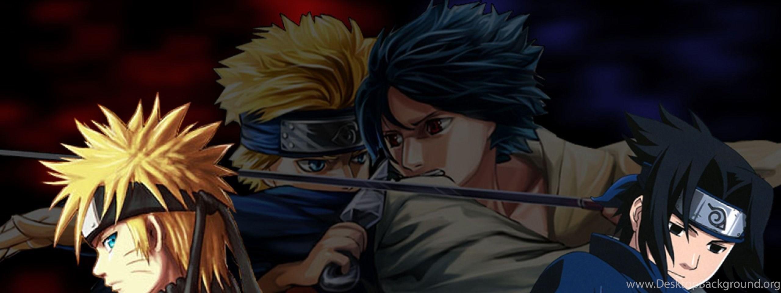 Download Wallpapers 2560x1024 Naruto Vs Sasuke Guys Quarrel
