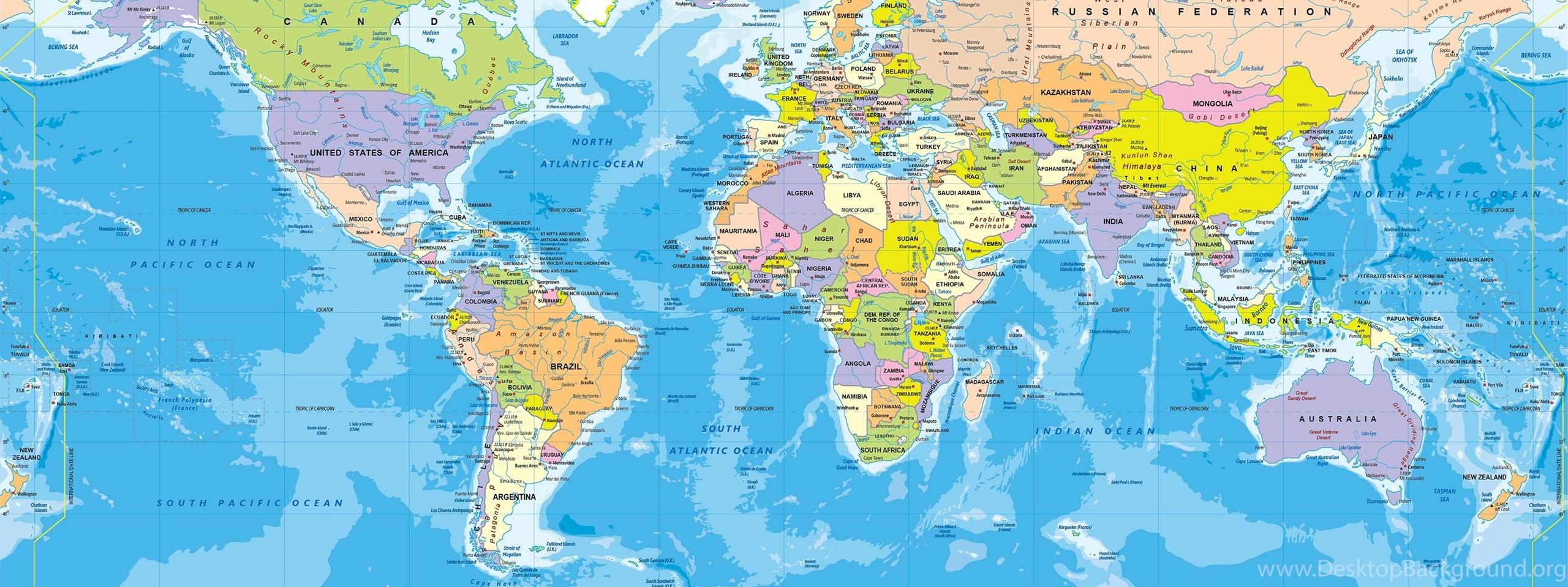 World Political Map Wall Mural Miller Projection Desktop ...
