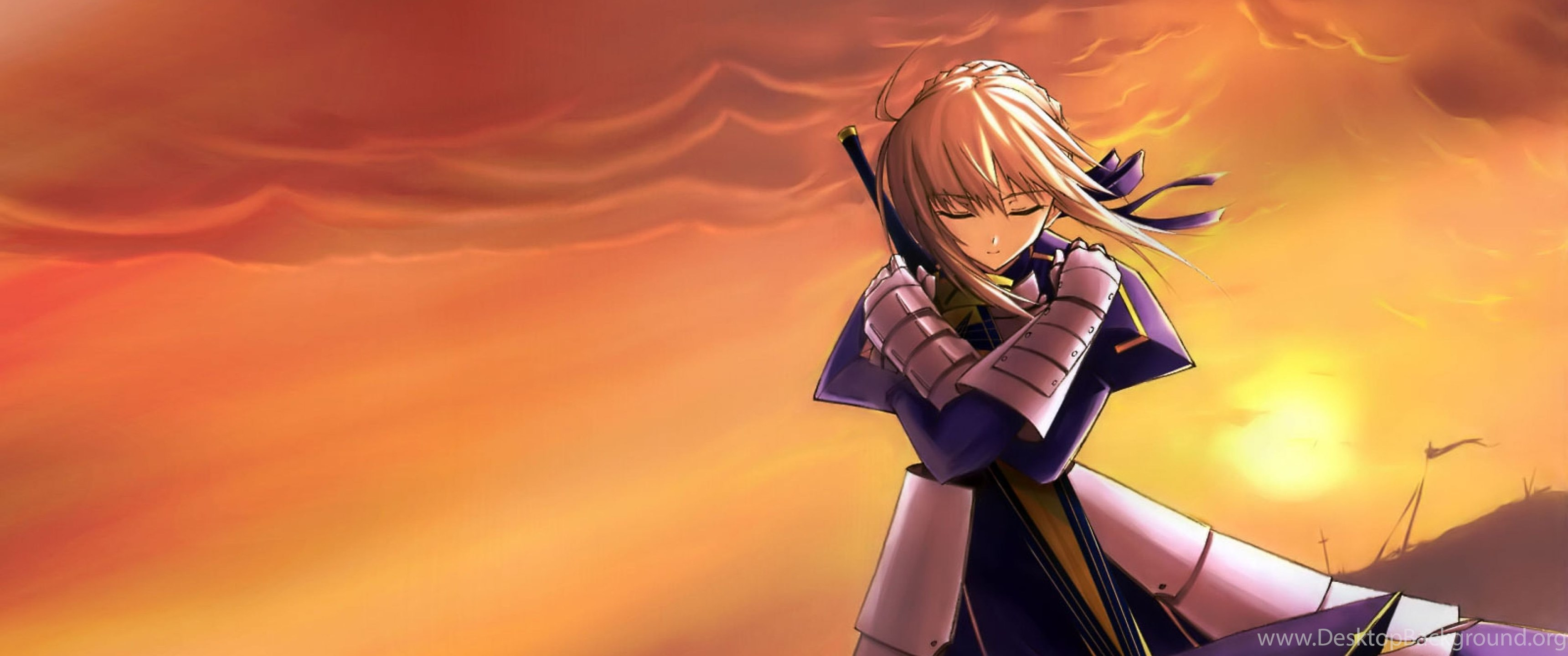 Download Wallpapers 3840x2400 Fate Stay Night Saber Girl Sunset Desktop Background