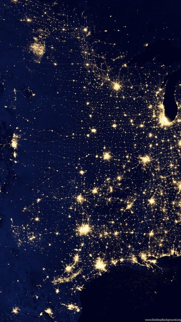 Grid Map Usa United States Power Electricity Night Lights Space - Us-map-night