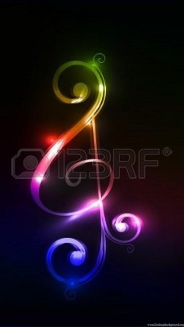 Colorful Music Notes Wallpaper Desktop Background