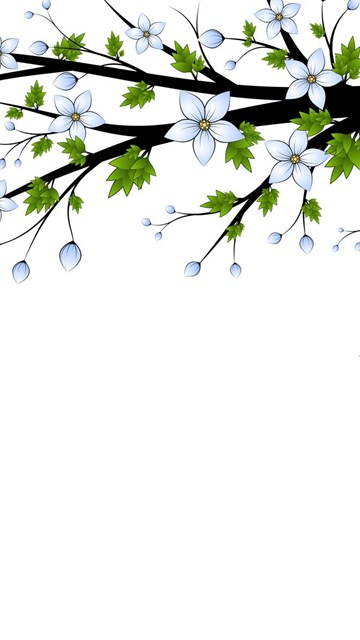 blue flowers branch ppt backgrounds for powerpoint