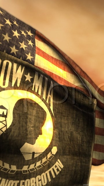 1097) Pow Mia And American Flags With Sunset  Stock Footage