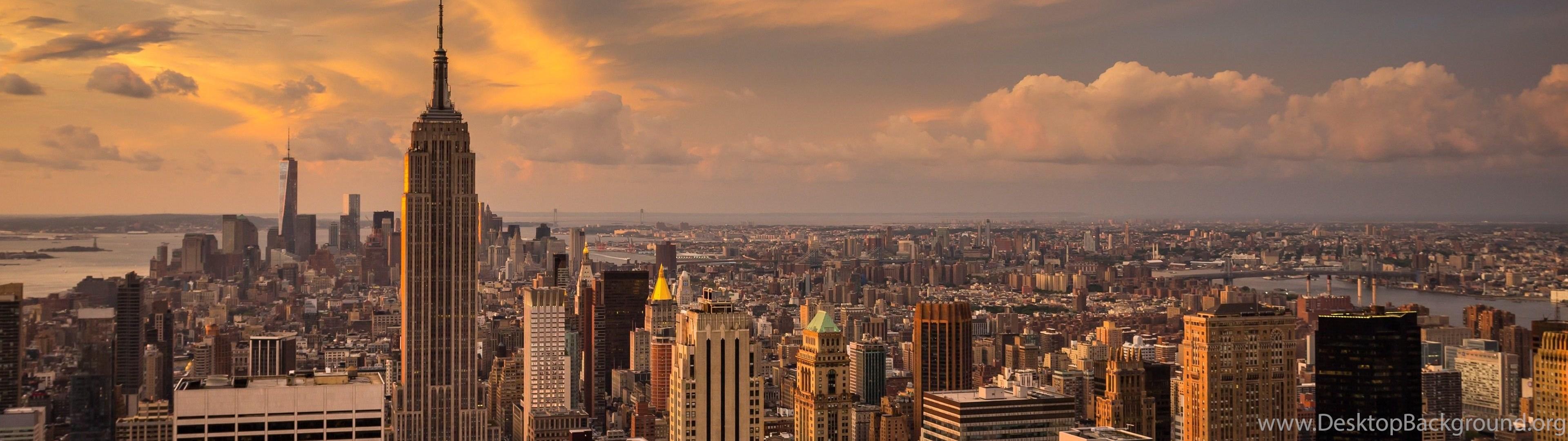 Landscape Clouds City Manhattan Sunset New York City Desktop Background