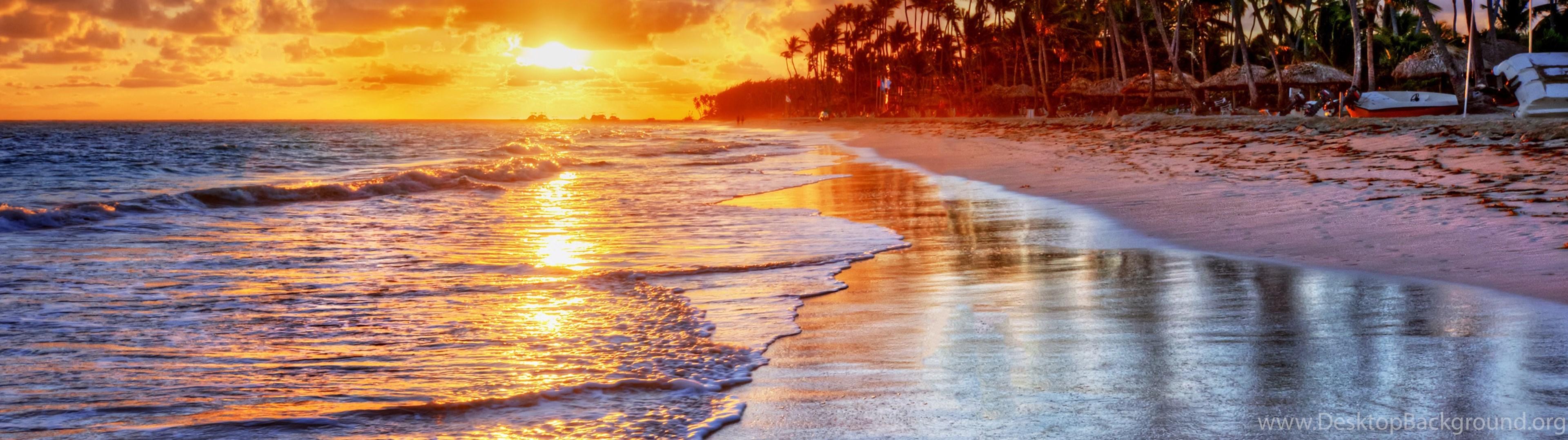Sunset, Tropical, Ocean, Sand, Sea, Palms, Beach, Shore