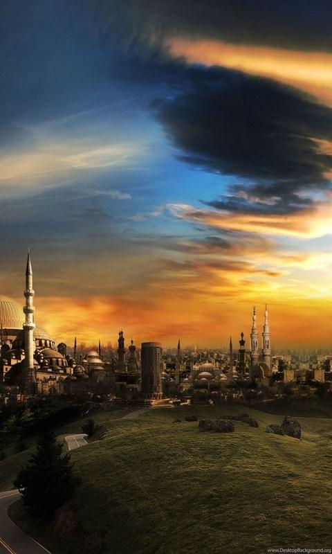 Download wallpapers 3840x2160 islam mosque city sunset 4k ultra desktop background - 4k wallpaper download ...