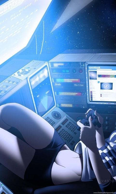 Anime Video Games Girl Space Invaders Spaceship Zero Gravity