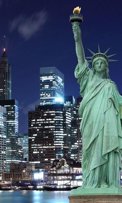 New York Statue Of Liberty At Night Wallpaper Desktop Background
