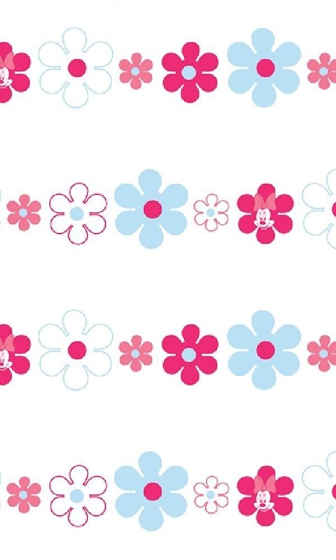 Disney Minnie Mouse Bows Daisies Pink Blue Childrens Wallpapers
