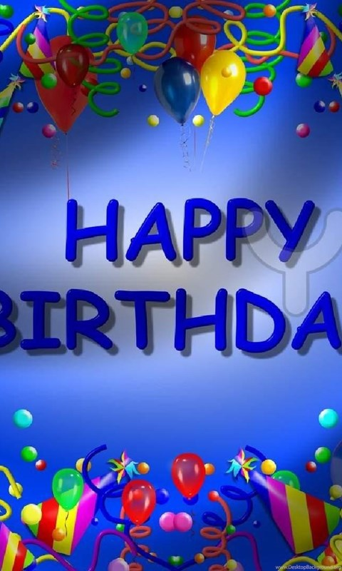 Happy Birthday Backgrounds Blue Theme Template Free
