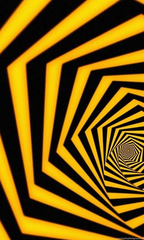 Wallpaper: Abstract, Vortex, Polygon, Yellow, Black ...