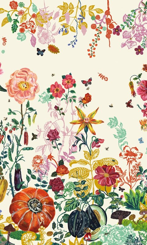 Wallpapers with floral pattern jardin creme by moustache for Jardin floral design