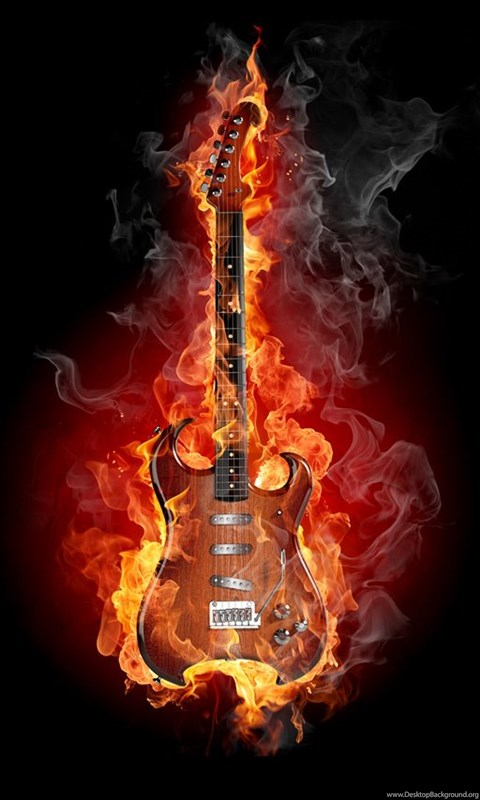 Flaming Guitar Flikie Wallpapers Desktop Background