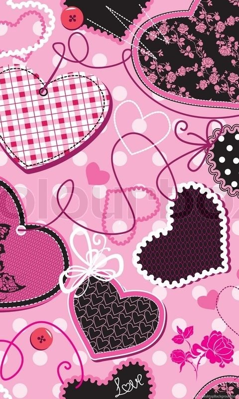 Pink And Black Hearts On A Pink Backgrounds Seamless Pattern Desktop Background