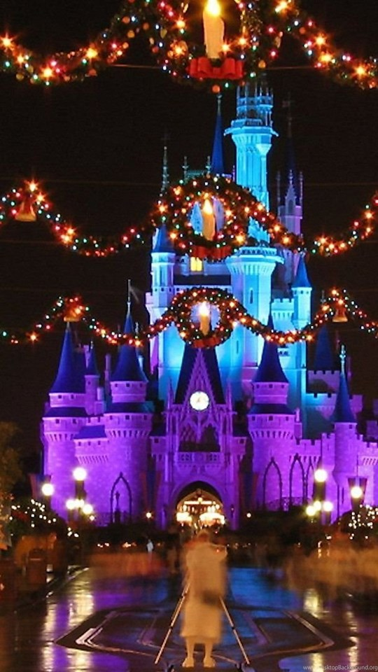 Mobile Android Tablet Download Walt Disney World Wallpaper Titled Castle Christmas