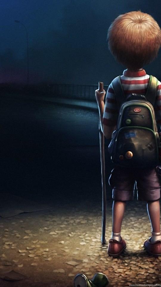 Cartoon Boy Alone In Dark Wallpapers Hd 1080p For Desktop Desktop