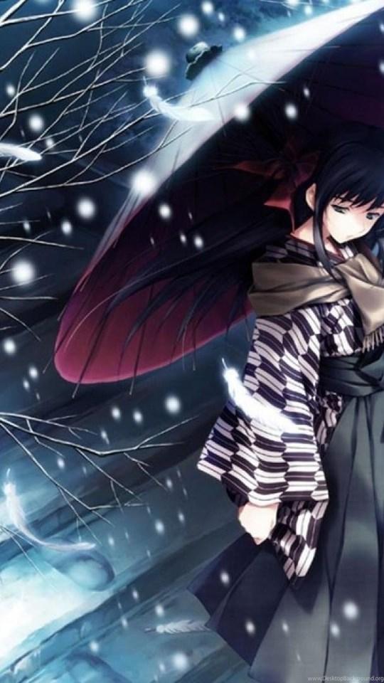 Snow Tree Kimono Girl Alone Sad Anime Blue Wallpapers Desktop Background