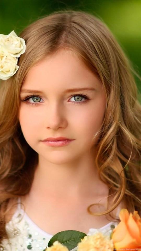 Girl Head Long Hair Flowers Cute Little Girl Hd Wallpapers Desktop Background