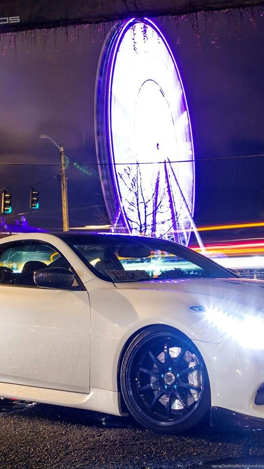 Infiniti G37 Lights Night Ferris Wheel Timelapse Hd Wallpaper Cars