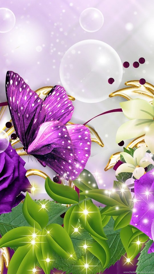 Images Of Purple Roses And Butterflies Desktop Background