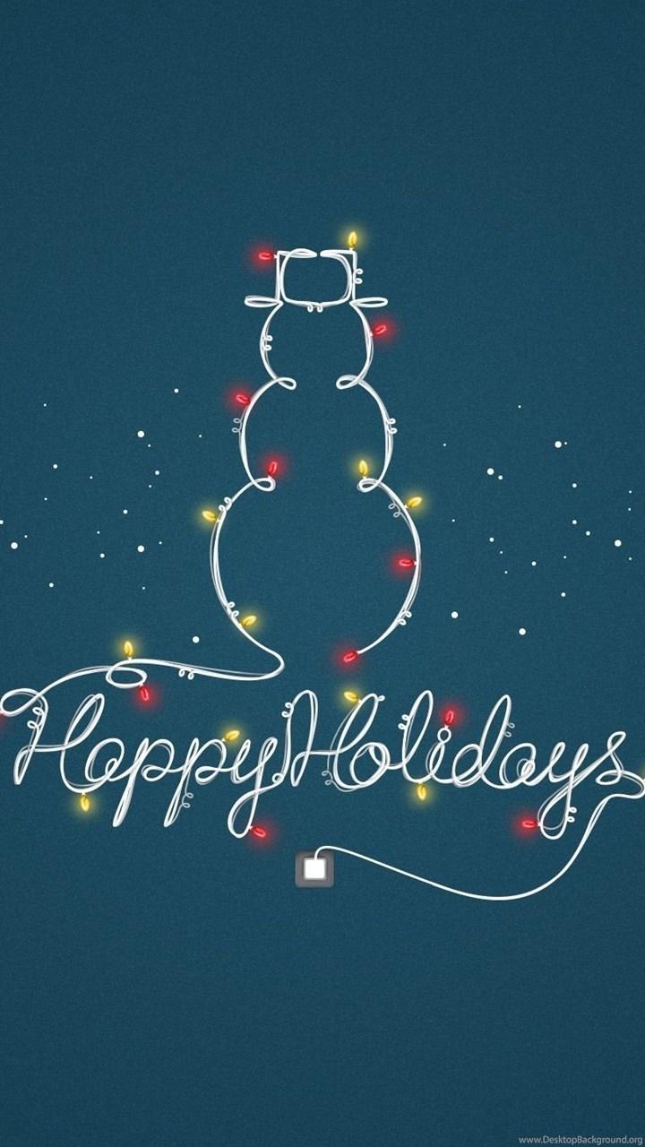 Snowman Lights Garland Holiday Minimalist Wallpaper Hd