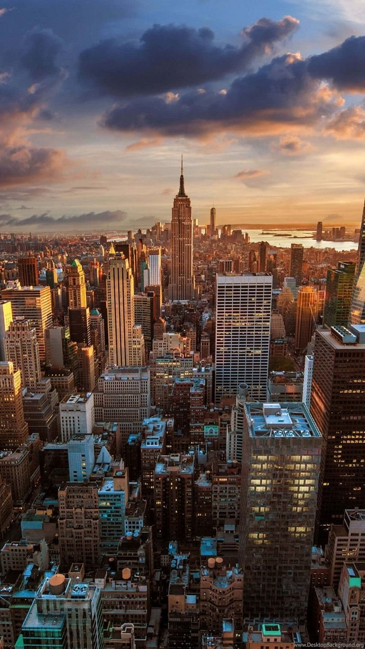 Download new york city skyline at sunset hd wallpapers for iphone 6 fullscreen voltagebd Gallery