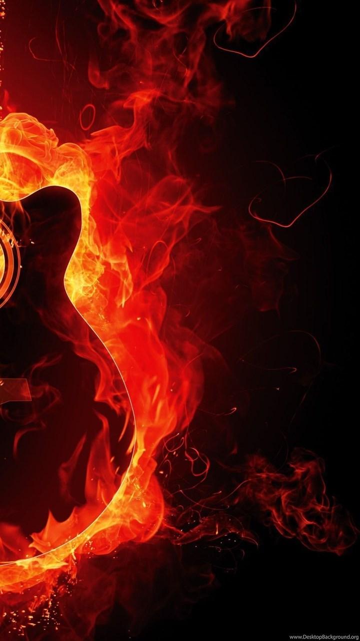 Fire Flaming Guitar Hd Wallpapers Desktop Background