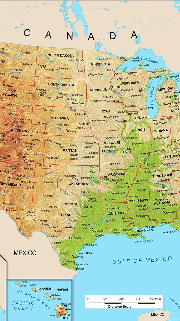 United States Physical Map Wall Mural From Academia Desktop Background