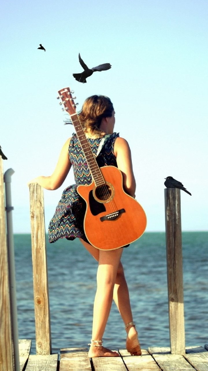 Cute Stylish Girls With Guitar Wallpaper Desktop Hd Wallpapers Desktop Background