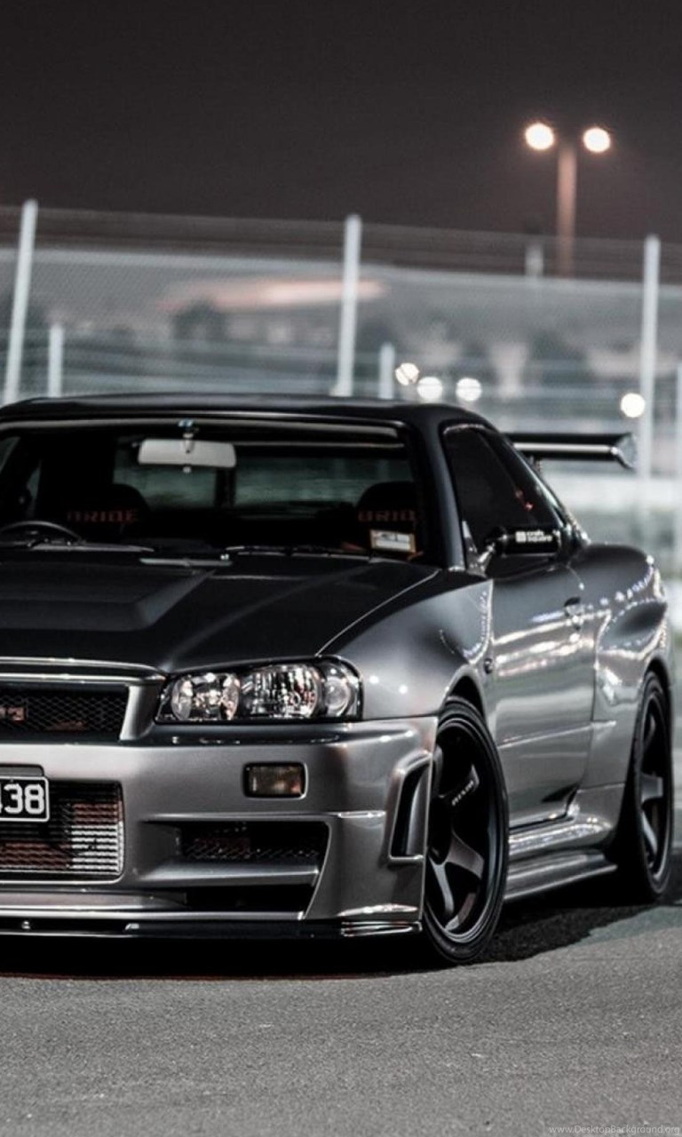 Cars Nissan Skyline R34 Gt R Front Angle View Wallpapers Desktop Background