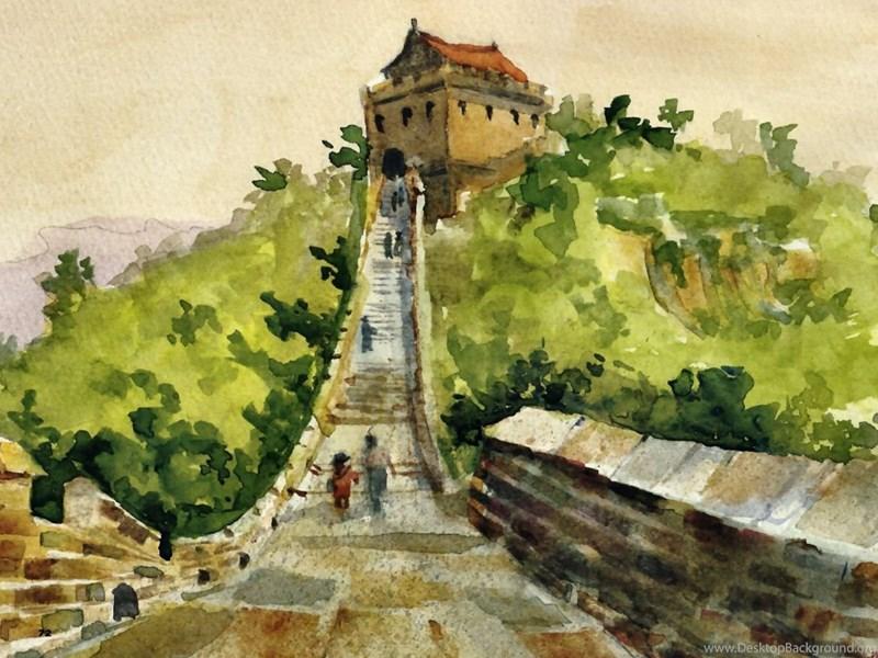 Colorful Great Wall Of China Art Elaboration - Wall Art Design ...
