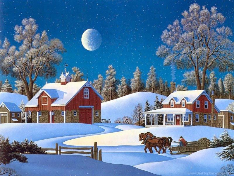 Открытки с рождеством с домиками