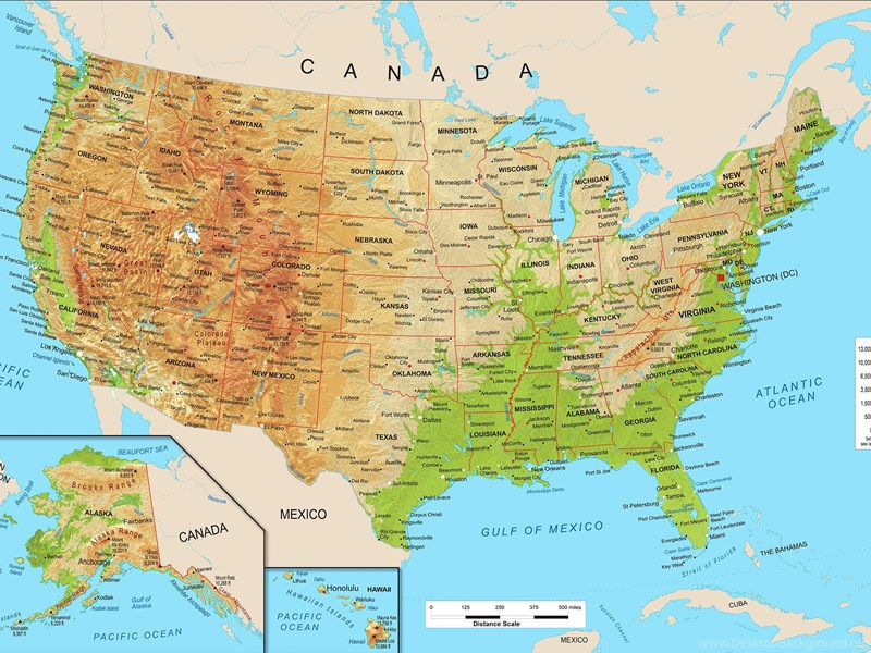 United States Physical Map Wall Mural From Academia Desktop Background - North dakota physical map