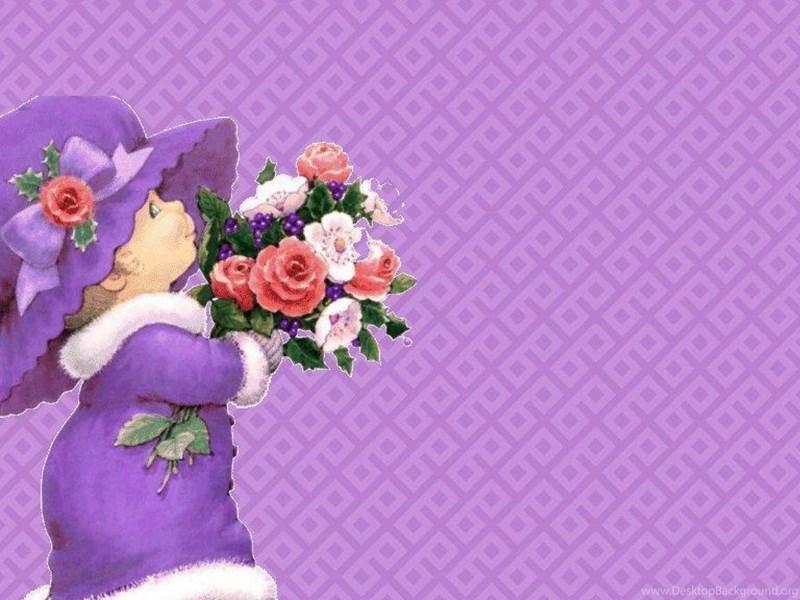 cute lady on purple wallpapers desktop background