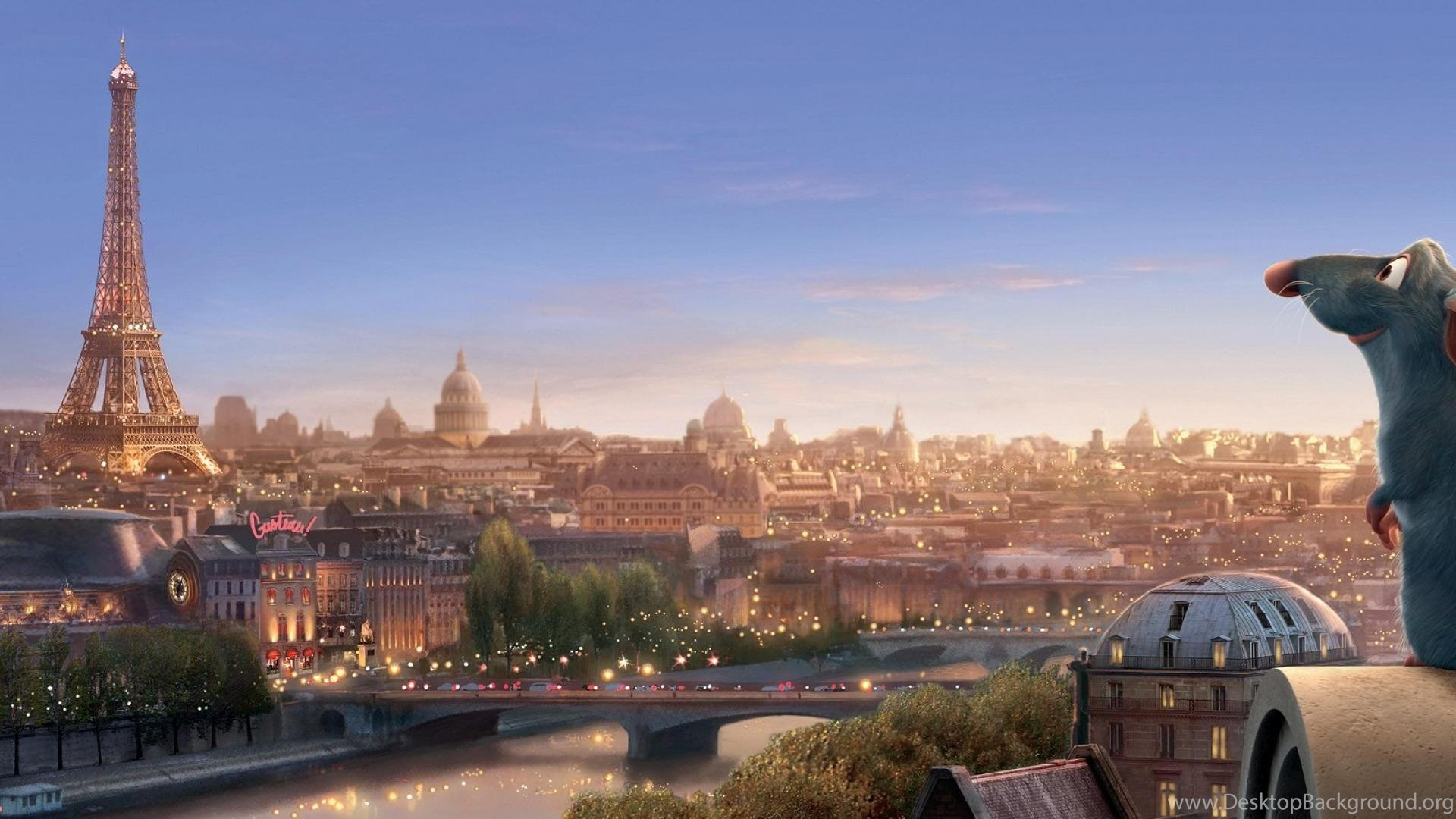 Dual Screen City Paris Mouse Cartoon Hd Wallpapers