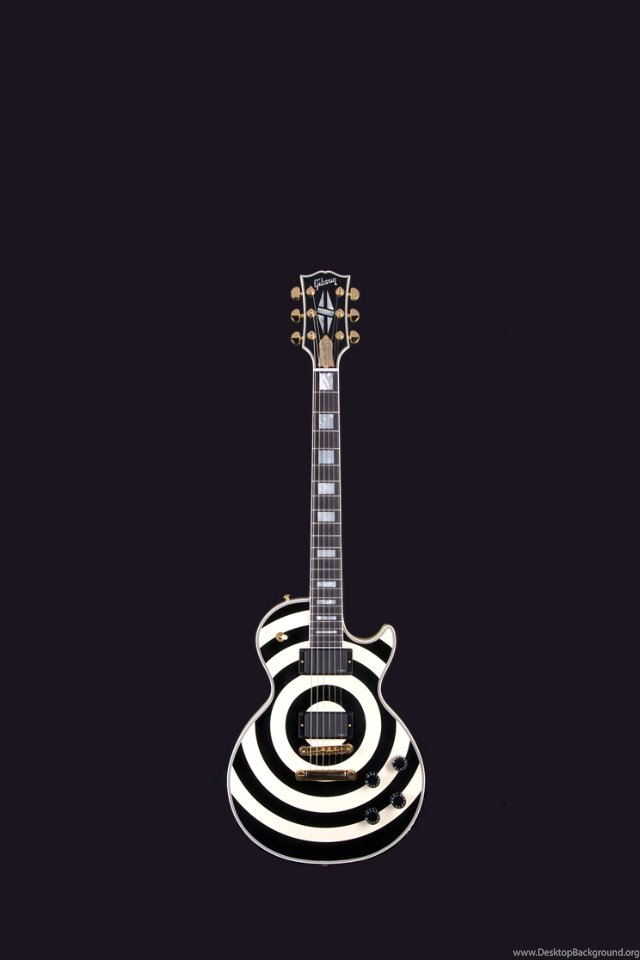 Black And White Gibson Guitar Iphone 4 Wallpapers 640x960 Desktop Background