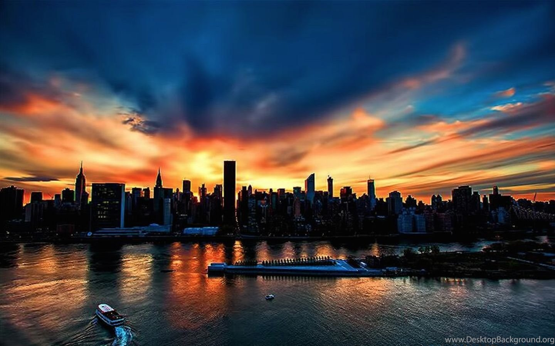 New York City Sunset Windows 8 Wallpapers Desktop Background