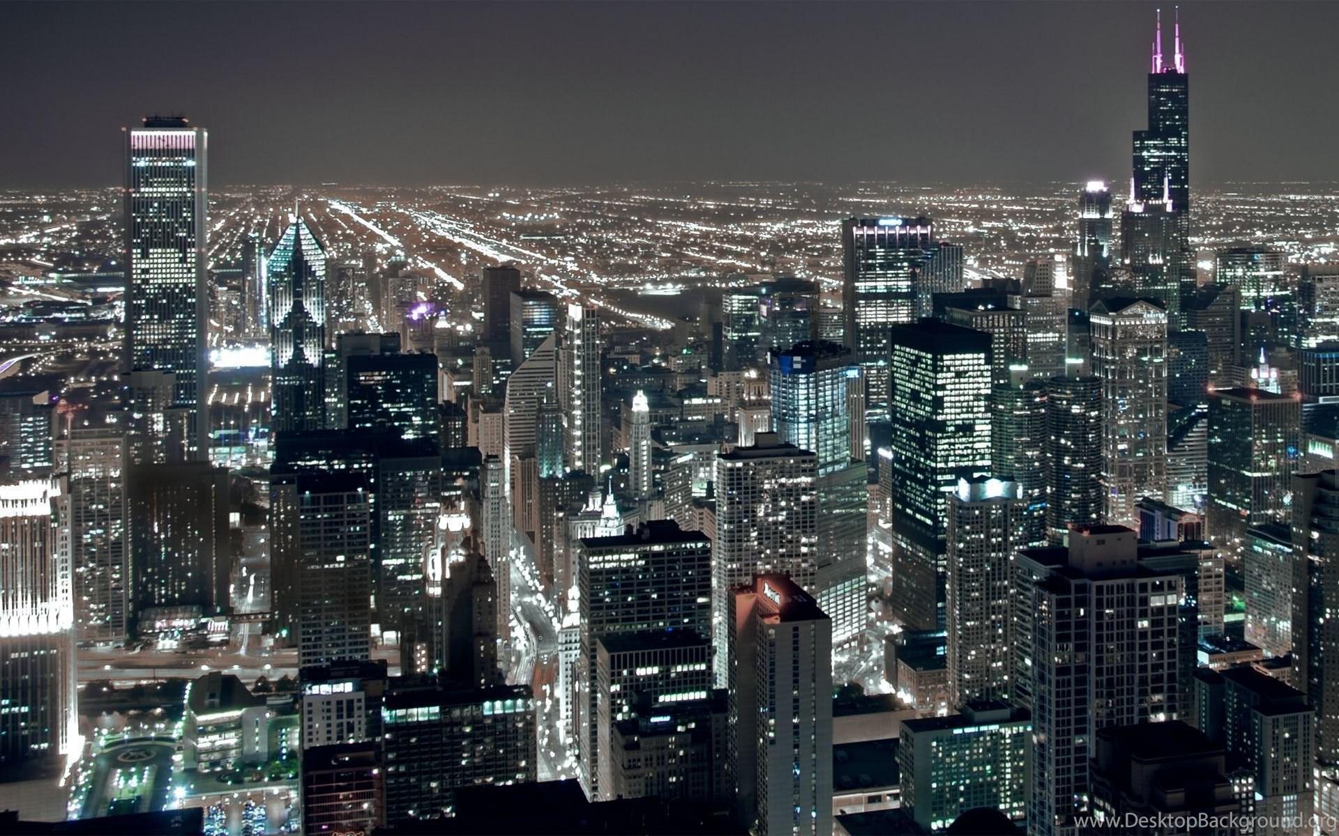 Chicago City Night Lights Hd Wallpapers Jpg Desktop Background
