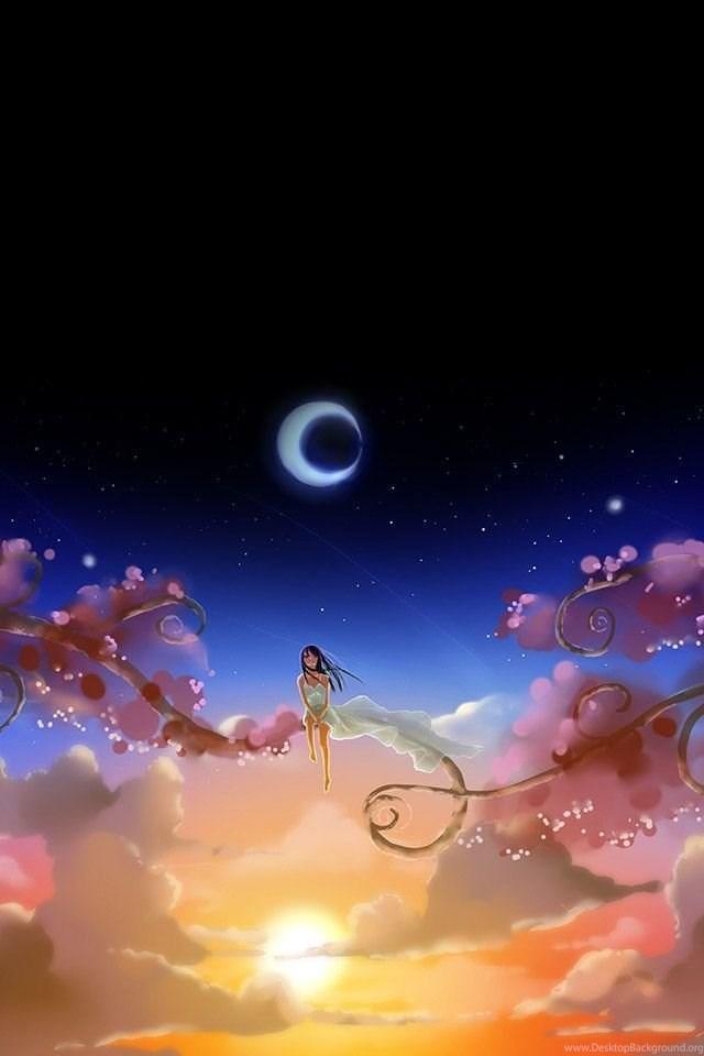 Anime Girl Dreamy Moon Iphone 4s Wallpapers Download Desktop Background