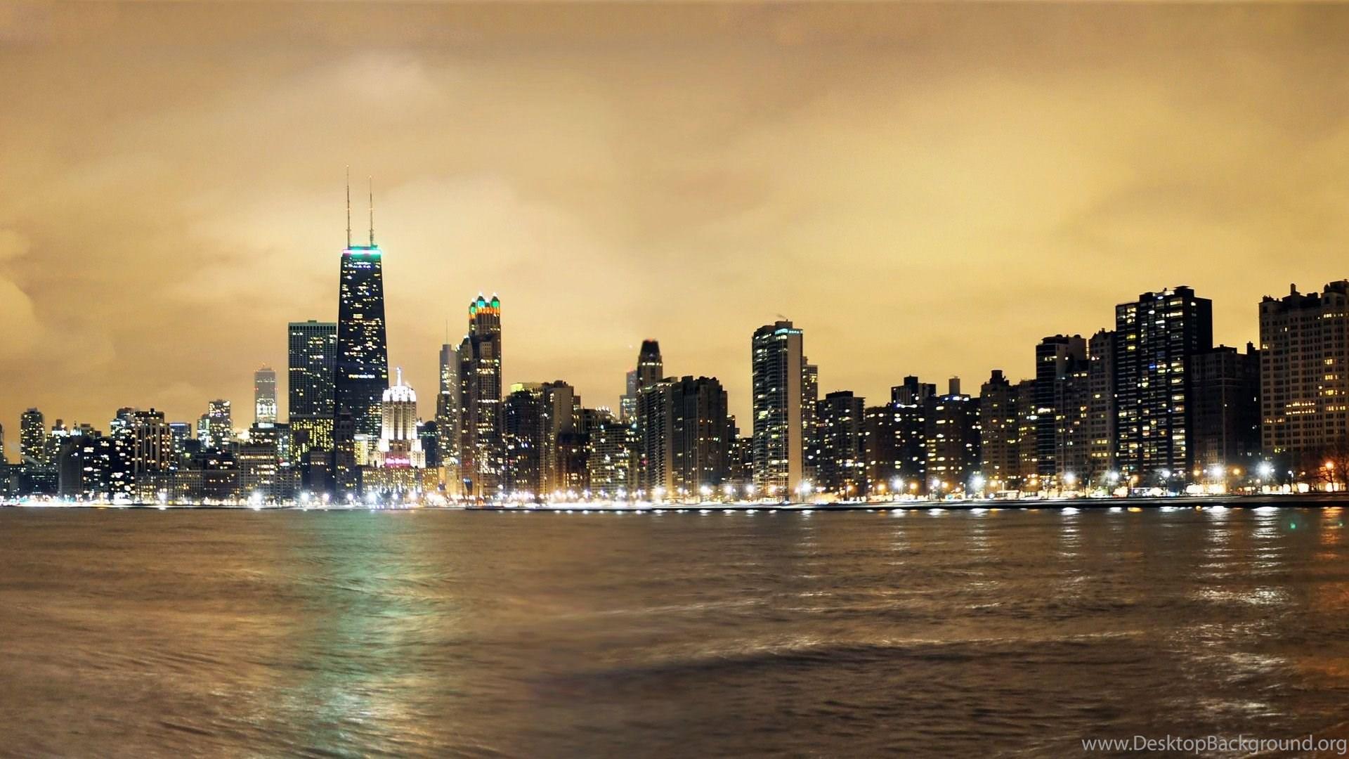 Chicago Skyline At Night Wallpaper Desktop Background